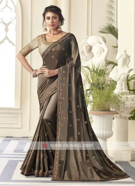 Satin Silk Brown Saree