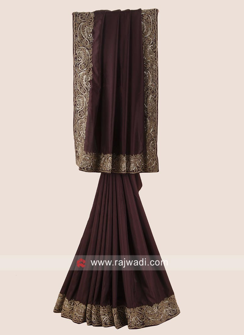 Satin Silk Brown Saree with Embroidered Border