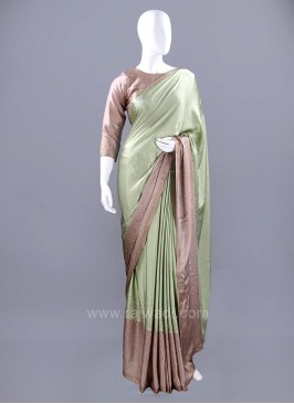 Satin Silk Choli Sari with Contrast Border