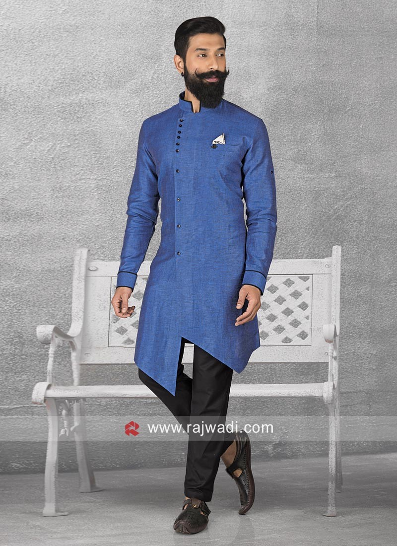 Linen Blue Color Pathani With Black Bottom