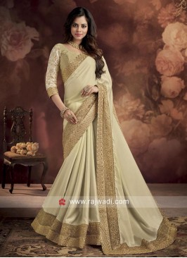 Satin Silk Cream Saree