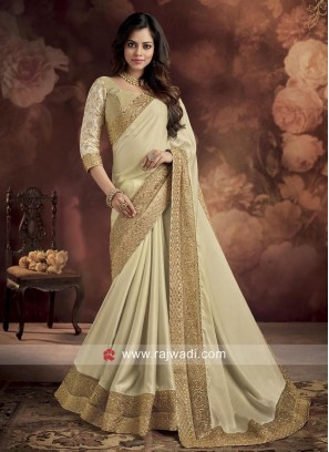 Satin Silk Cream Saree
