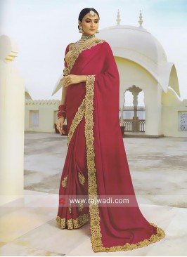 Satin Silk Crimson Saree with Blouse