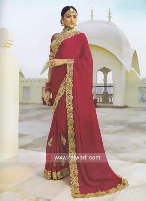 Satin Silk Crimson Saree with Blouse