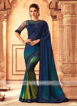 Satin Silk Dark Blue saree
