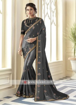 Satin Silk Dark Grey Saree