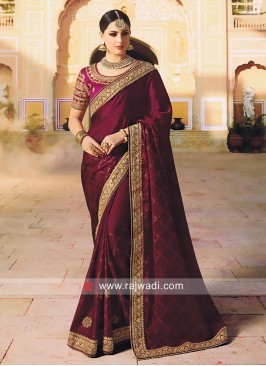 Satin Silk Dark Magenta Saree