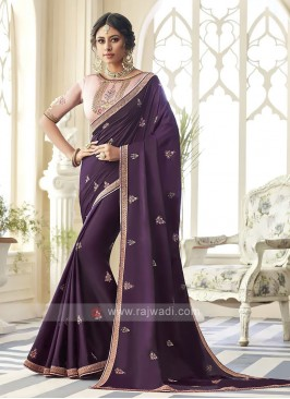 Satin Silk Dark Purple Saree