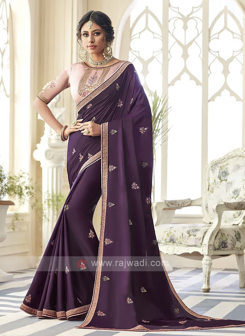 Satin Silk Dark Purple Saree