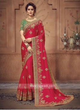 Satin SIlk Deep Pink Saree