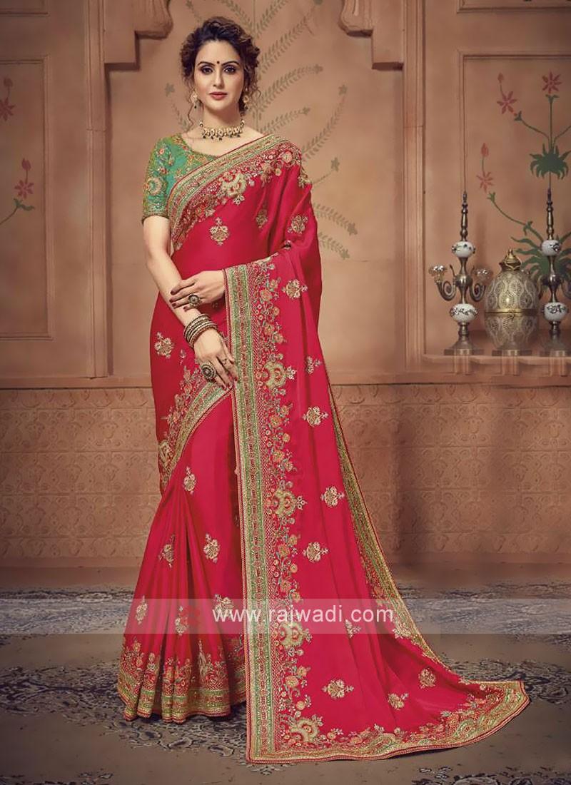 Satin SIlk Deep Pink Saree