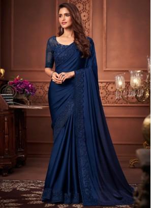 Satin Silk Designer Saree in Navy Blue
