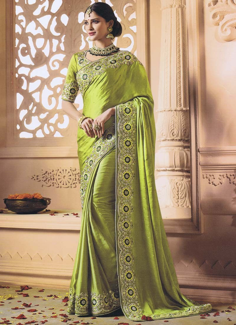 Satin Silk Designer Saree with Blouse