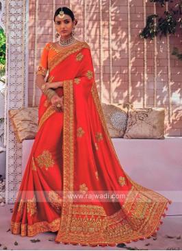 Satin Silk Designer Tassels Saree