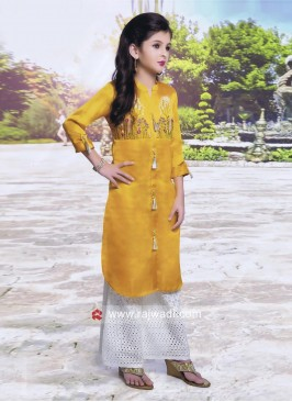 Satin Silk Eid Palazzo Suit for Kids