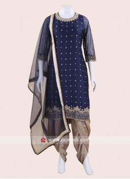 Satin Silk Embroidered Dhoti Salwar Suit