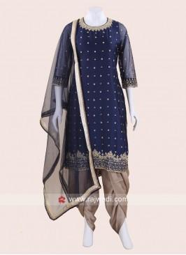 Satin Silk Embroidered Dhoti Salwar Suit