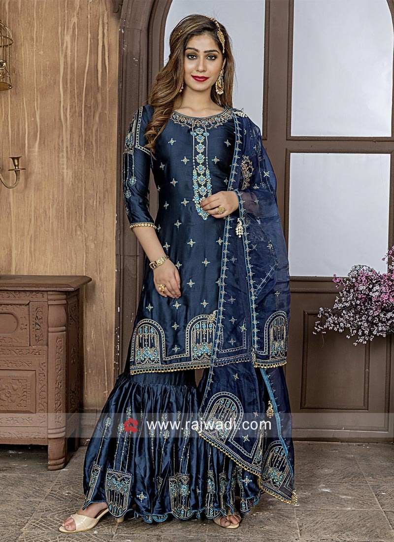 Satin Silk Embroidered Gharara Suit