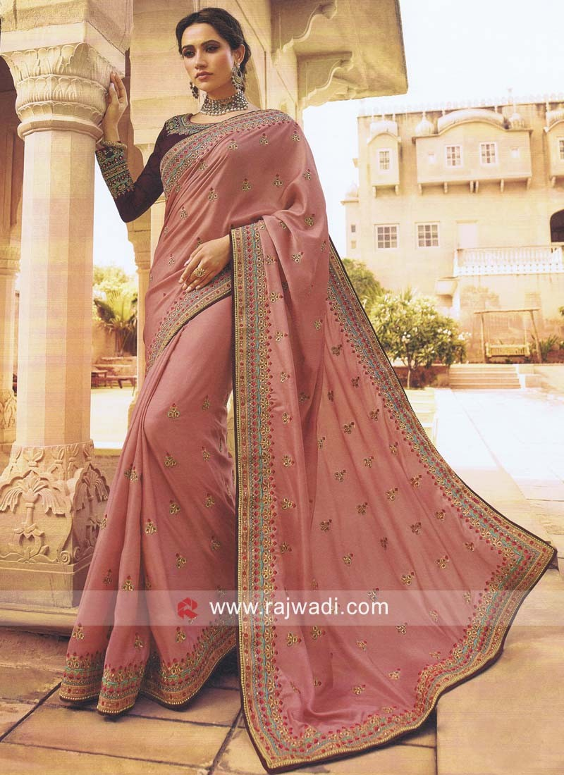 Satin Silk Embroidered Saree
