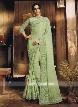 Satin Silk Embroidered Saree