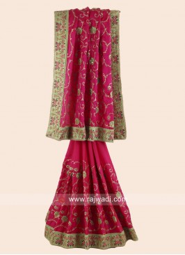 Satin Silk Embroidered Saree with Border