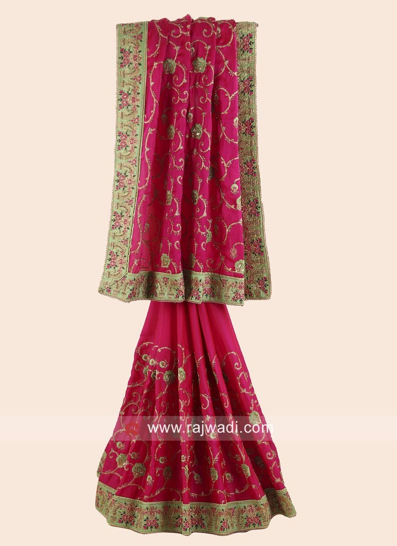 Satin Silk Embroidered Saree with Border