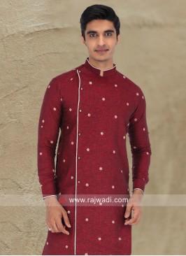 Maroon Linen Fabric Kurta