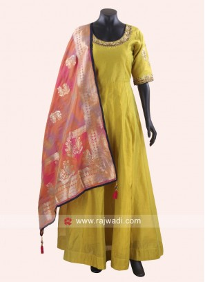Satin Silk Floor Length Anarkali Suit