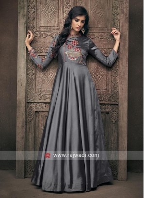 Satin Silk Floral Work Gown in Grey