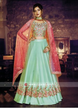 Satin Silk Flower Print Lehenga Choli