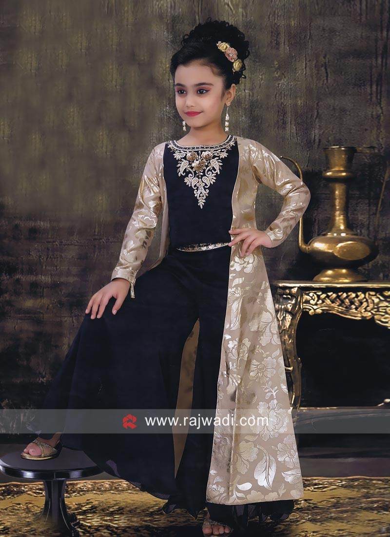 Satin Silk Girls Palazzo Suit with Jacket