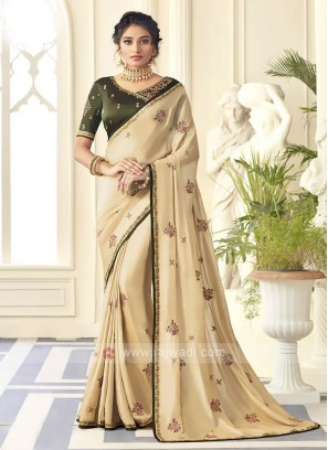 Satin Silk Golden Cream Saree