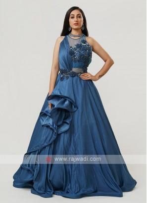 Satin Silk Gown In Blue
