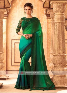 Satin Silk Green And Rama Shaded Saree