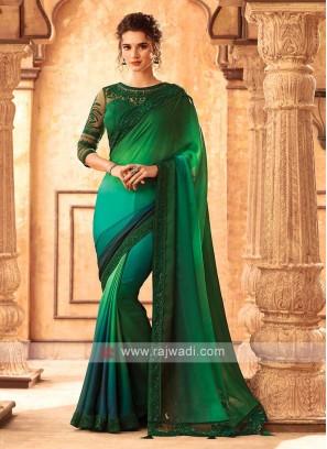 Satin Silk Green And Rama Shaded Saree
