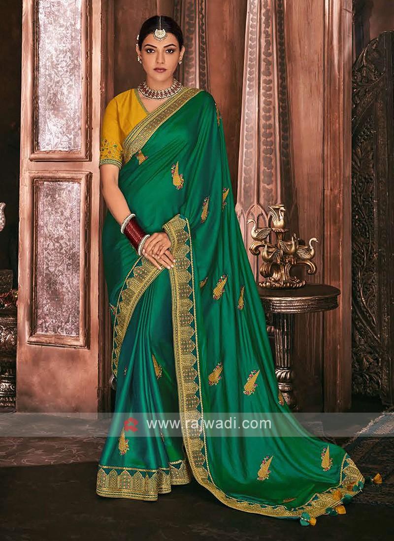 Satin Silk Green Color Saree