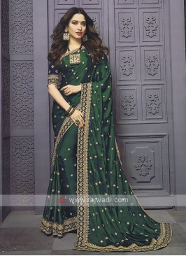Satin Silk Green Designer Saree