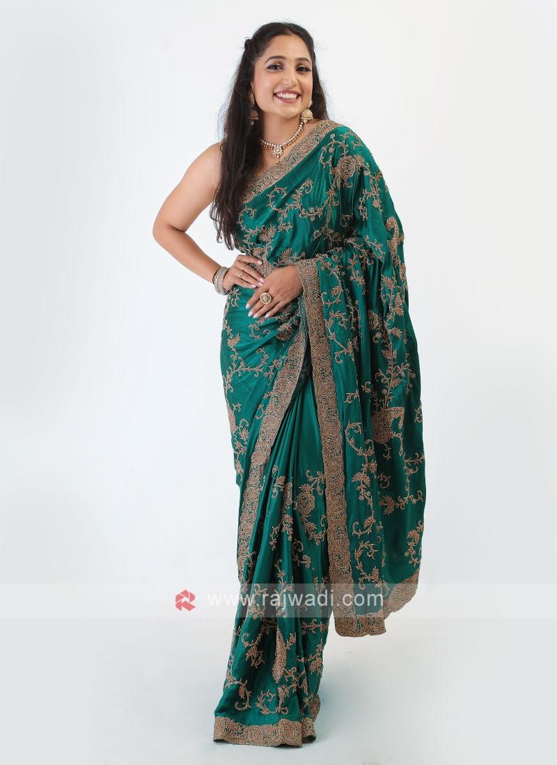 Satin Silk Green Saree