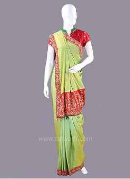 Satin Silk Green Sari with Contrast Border