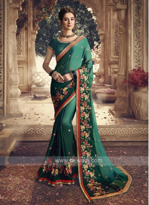 Satin Silk Green Shaded Saree