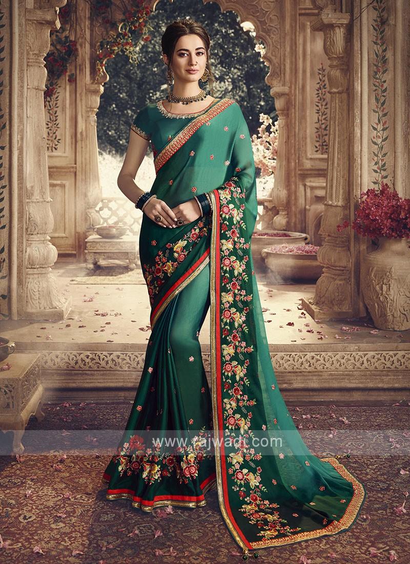 Satin Silk Green Shaded Saree