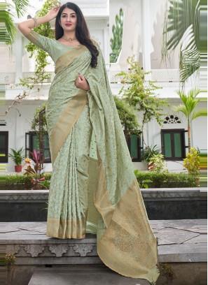 Satin Silk Green Woven Traditional Saree