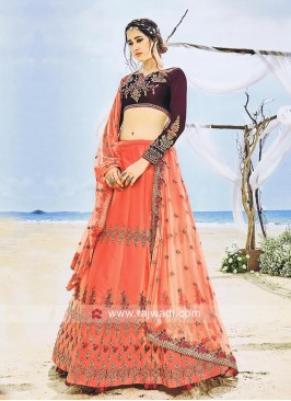 Satin Silk Heavy Embroidered Lehenga Choli