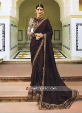 Satin Silk Heavy Wedding Saree