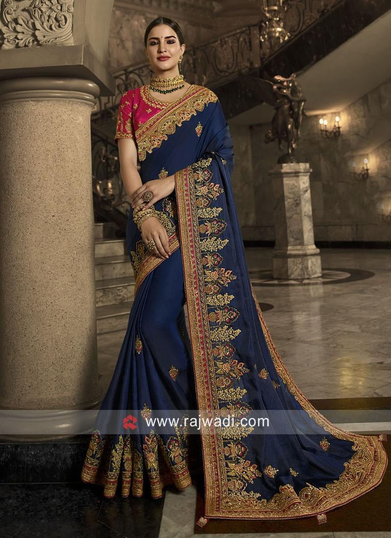 Satin Silk Heavy Wedding Saree