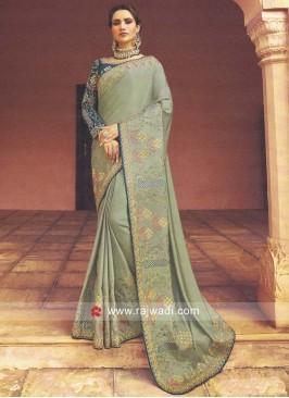 Satin Silk Heavy Work Saree