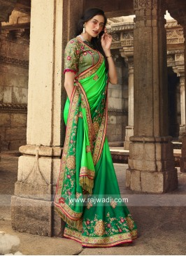 Satin Silk Heavy Work Saree