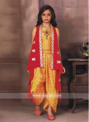 Satin Silk Kids Salwar Suit with Koti