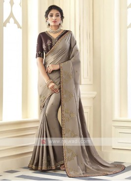 Satin Silk Light Brown Saree