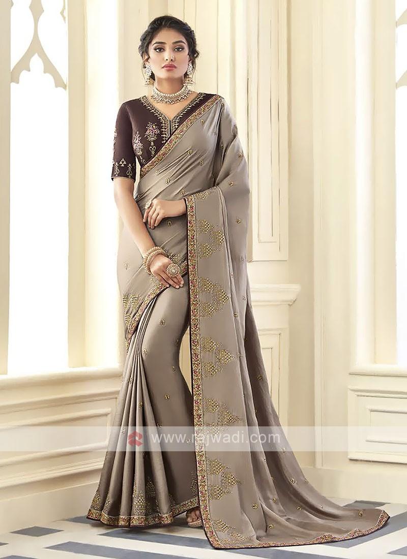 Satin Silk Light Brown Saree